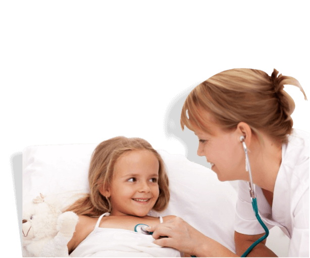caregiver with stethoscope checking heartbeat of a young girl