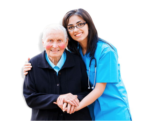 caregiver leaning towards an elderly patient