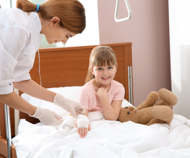nurse bandaging a kid