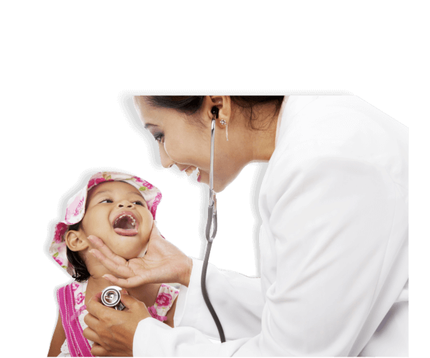 caregiver with stethoscope checking mouth of a young girl