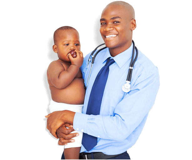 caregiver with stethoscope carrying a baby boy