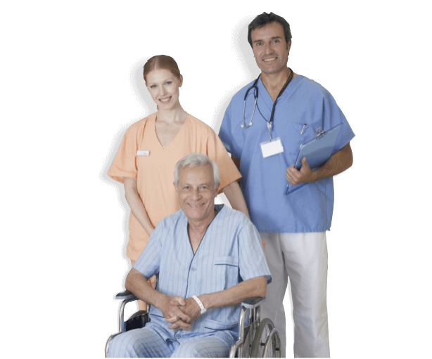 caregivers with an elderly patient